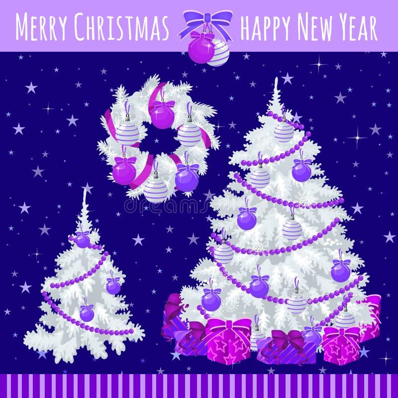 Affisch med två julgranar och krans vektor illustrationer