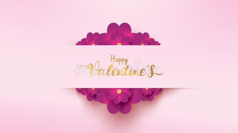 Affisch och baner med blomman och bokstäver lyckliga Valentine Day på rosa bakgrund Blom- begrepp för tapet för valentindag royaltyfri illustrationer