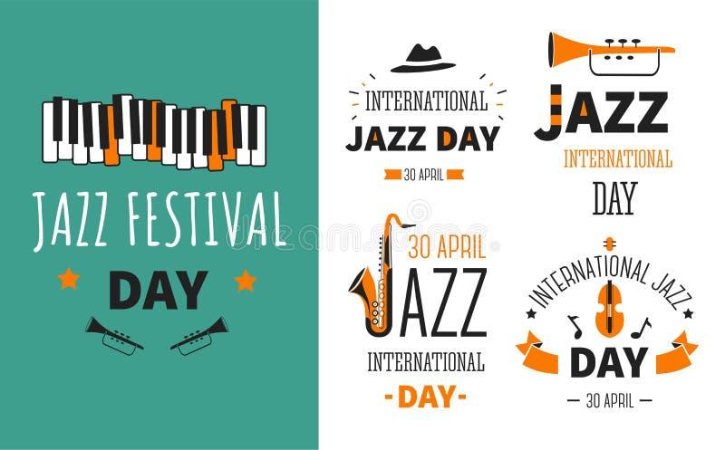 Affisch och emblem för genre för musik för musikinstrument för jazzfestival vektor illustrationer