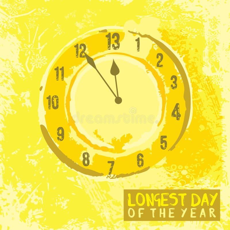 Affisch på det Juni solståndet royaltyfri illustrationer