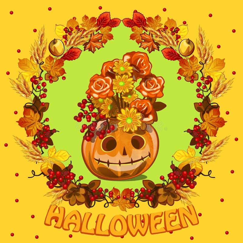 Affisch på tema av allhelgonaaftonferiepartiet Gulligt hälsningkort på tema av den guld- hösten Utsmyckad bakgrund av stupat royaltyfri illustrationer