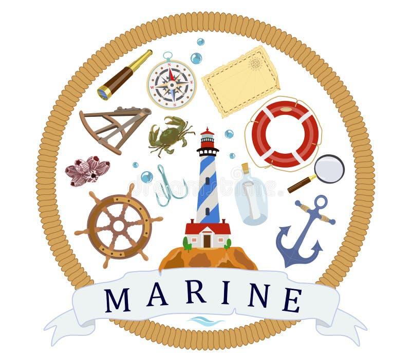 Affisch på tema av flottan Symboler av navigering också vektor för coreldrawillustration royaltyfri illustrationer