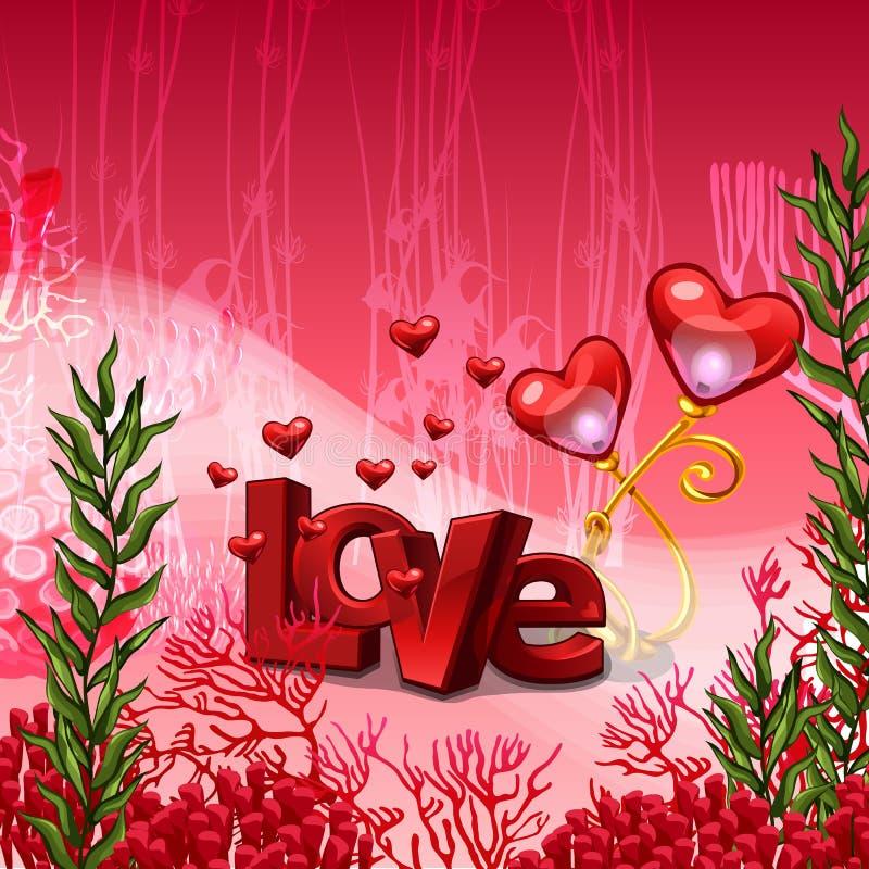 Affisch på temat av förälskelse i stilen av ljusa invånare av havsbotten- och korallpolyperna Dimensionell inskrift stock illustrationer