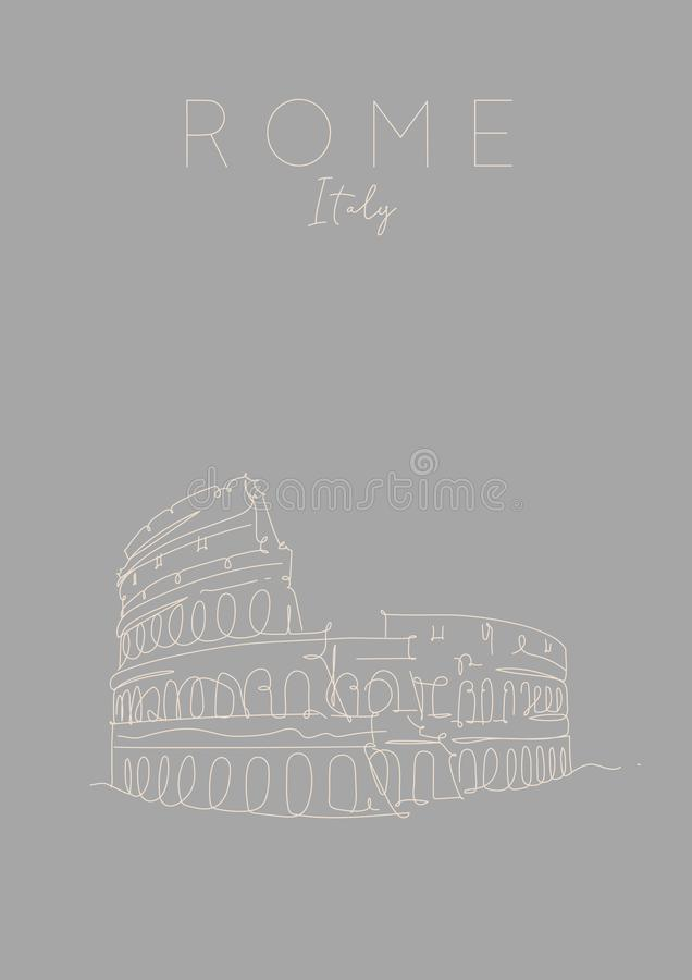 Affisch Rome gråa Colosseum royaltyfri illustrationer
