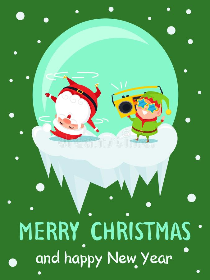 Affisch Santa Dancing Elf för nytt år för glad jul stock illustrationer