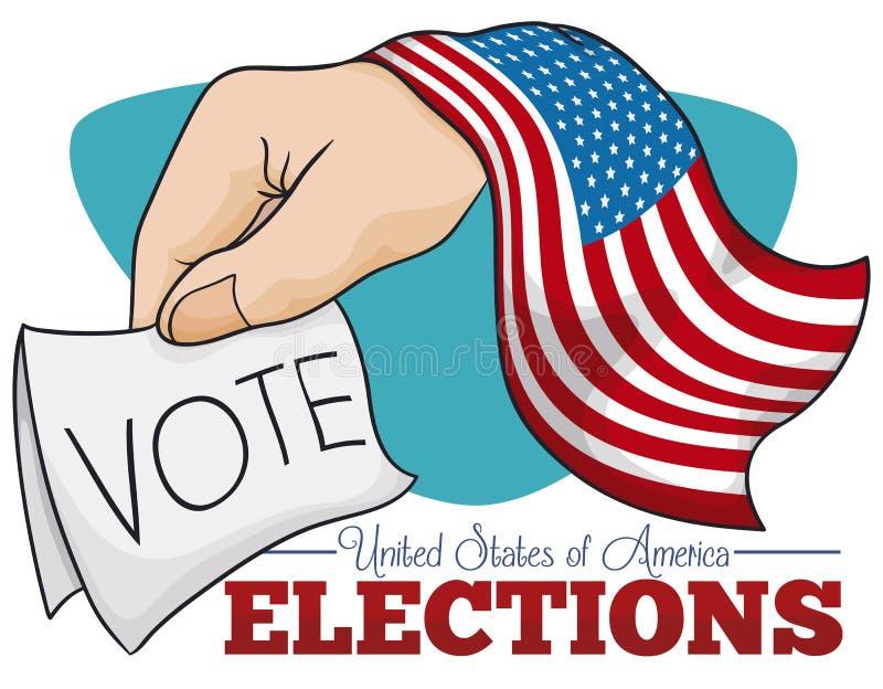 Affisch som främjar rösträtt i amerikanska val, vektorillustration royaltyfri illustrationer