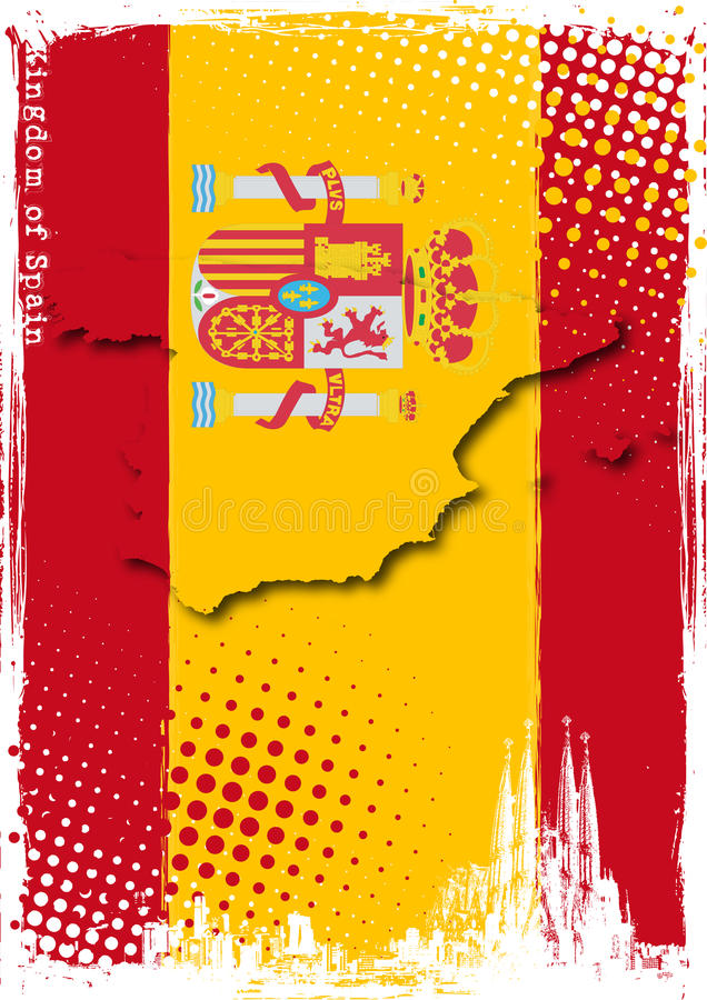 affisch spain royaltyfri illustrationer