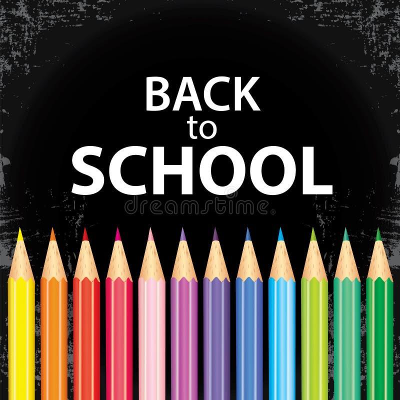 Affisch` tillbaka till skola` med kulöra blyertspennor också vektor för coreldrawillustration Höst Utbildning och utbildning stock illustrationer