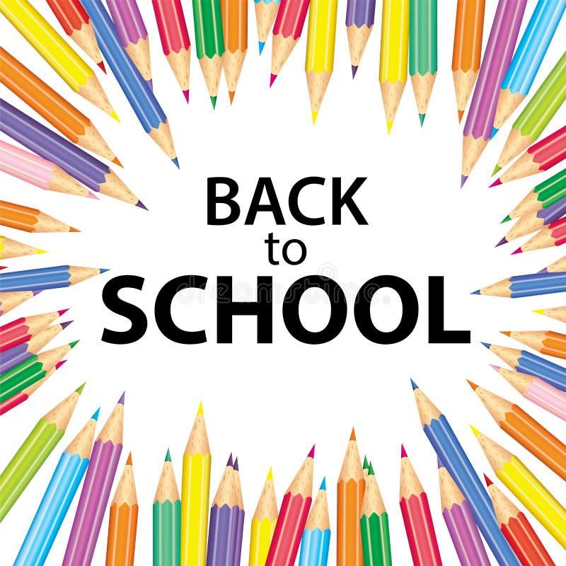 Affisch` tillbaka till skola` med kulöra blyertspennor också vektor för coreldrawillustration Höst Utbildning och utbildning vektor illustrationer