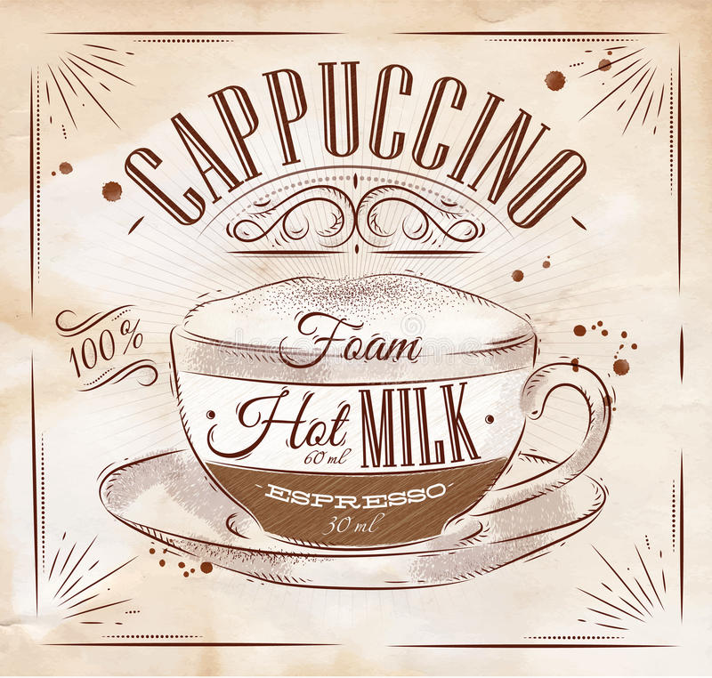 Affischcappuccino kraft stock illustrationer