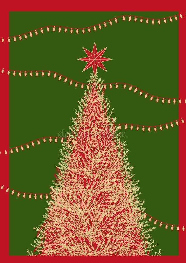 Affischdesign för julhändelse i enkel plan stil med text Bakgrundsdesign i färgrik färg med julgranen, en stjärna royaltyfri illustrationer
