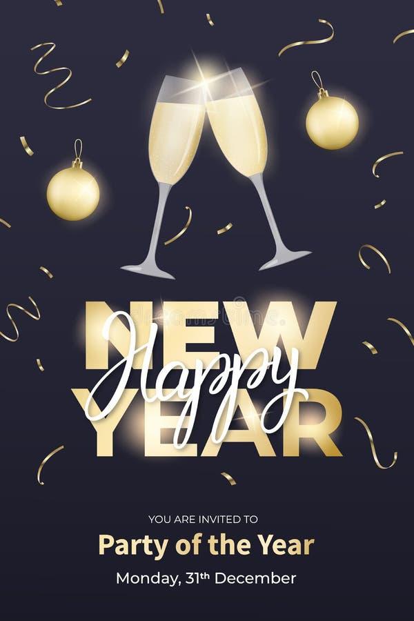 Affischdesign för nytt år Orientering med champagneexponeringsglas, guld- bollar, konfettier och bokstäver för nytt år stock illustrationer