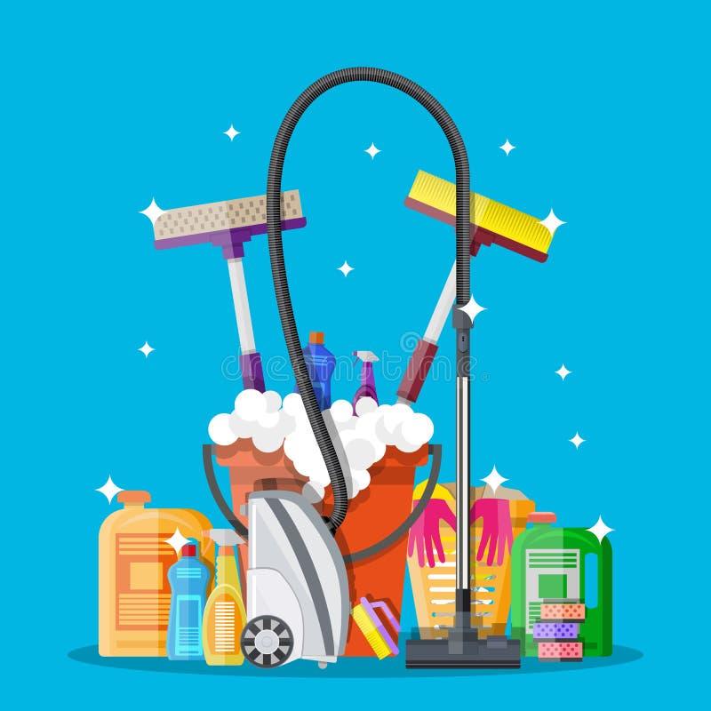 Affischdesign för rengörande service och tillförsel vektor illustrationer