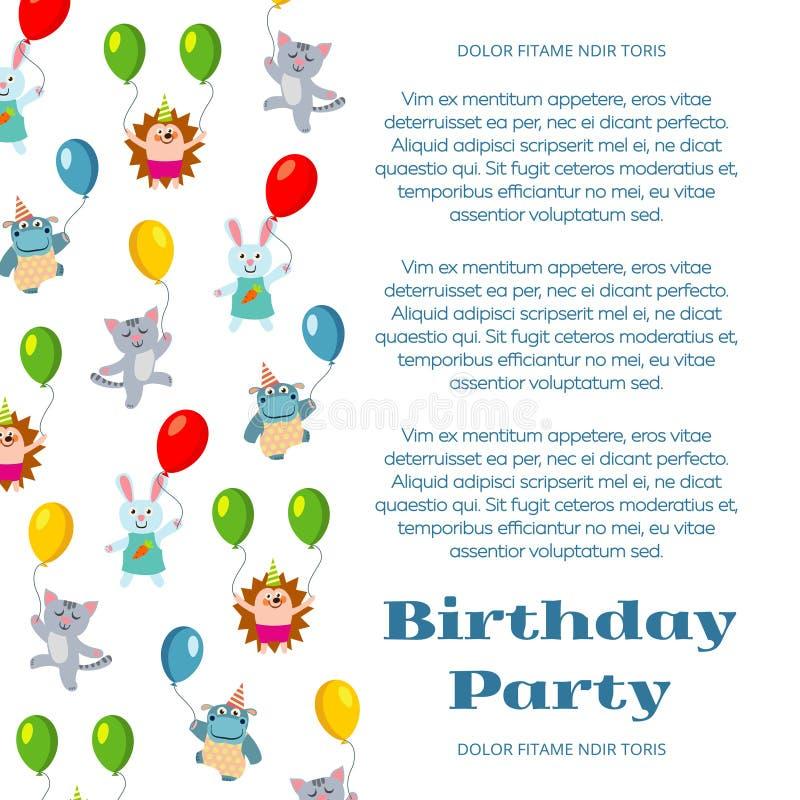 Affischen eller inbjudan med gulliga tecknad filmdjur och flyget för födelsedagparti sväller royaltyfri illustrationer