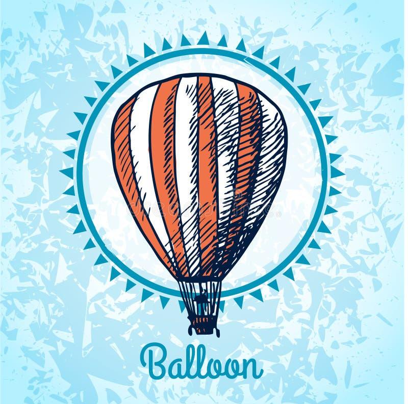 Affischen för ballongen för varm luft skissar stock illustrationer