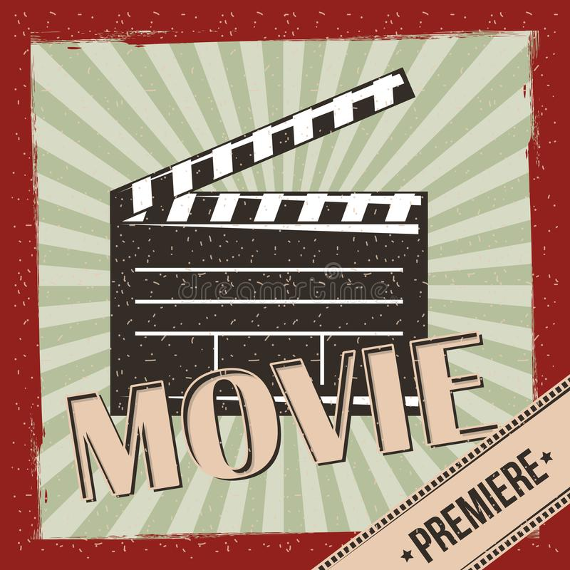 Affischen för inbjudan för filmfilmpremiären gör randig den retro bakgrund royaltyfri illustrationer