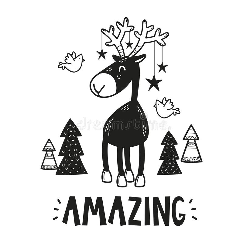 Affischen för ungar hyr rum, hälsningkortet, trycket på väggen, kudden, garneringungeinre, behandla som ett barn kläder och t-skj vektor illustrationer