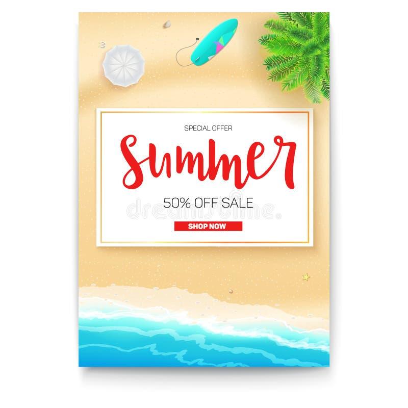 Affischen med sommarstrandkusten för touristic händelser, loppbyrå åtgärdar Sommarförsäljningsbaner med femtio procent vektor illustrationer