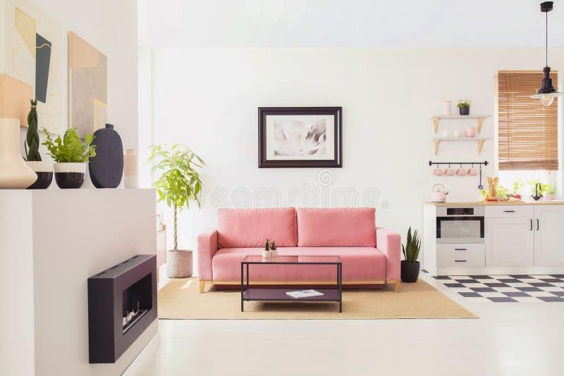 Affischen på den vita väggen ovanför rosa färger uttrycker i plan inre med pentryt och spisen Verkligt foto arkivbilder
