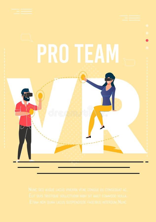 Affischen som annonserar, sammanfogar till pro-Gamers för laget VR vektor illustrationer