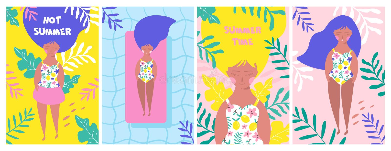 Affischen ställde in med att koppla av flickan på stranden vektor vektor illustrationer