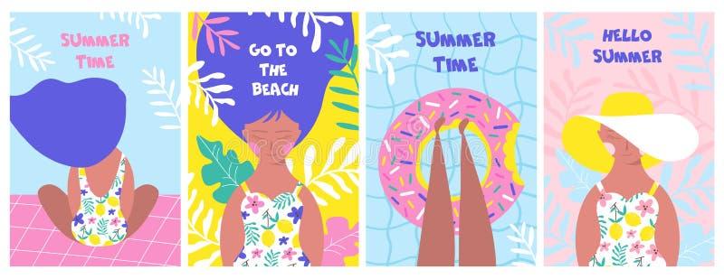 Affischen st?llde in med att koppla av flickan p? stranden vektor stock illustrationer