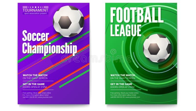 Affischer av turneringfotboll- eller fotbollligan Boll på diagrambakgrund Design av banret för sporthändelser vektor illustrationer