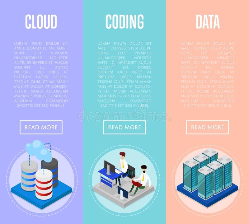 Affischer för datamolnför kodifiera och administration vektor illustrationer