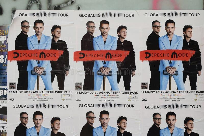 Affischer för Depeche funktionslägekonsert royaltyfria bilder