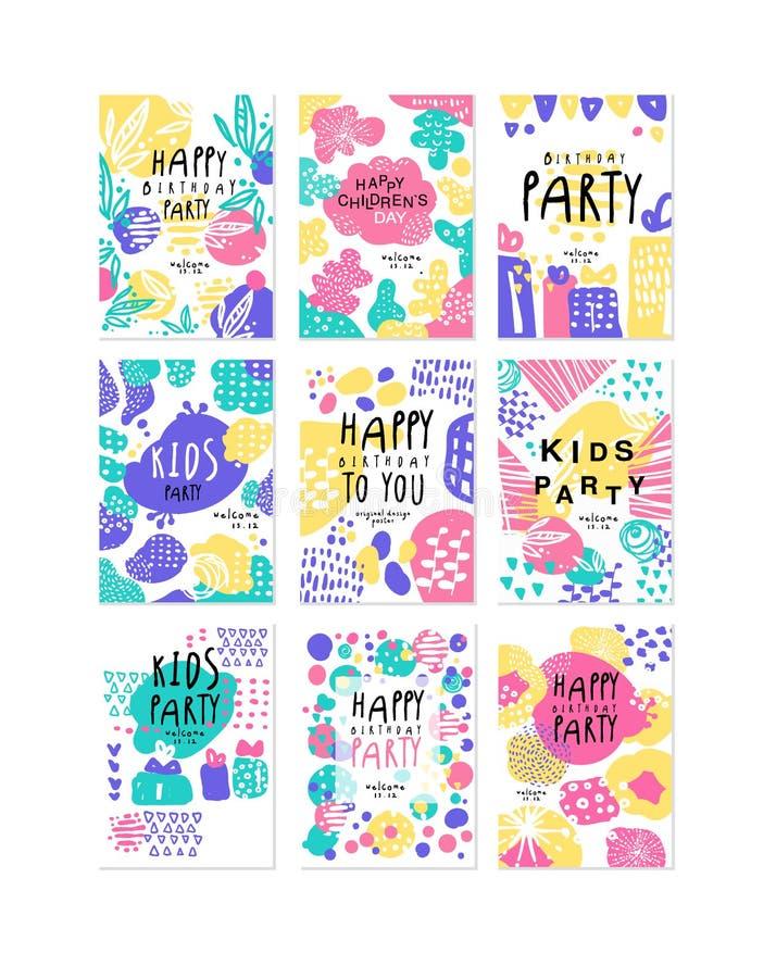 Affischer in för design för parti för lycklig födelsedag ställde original-, mallar för plakatet, inbjudan, affischen, kortet, rek stock illustrationer