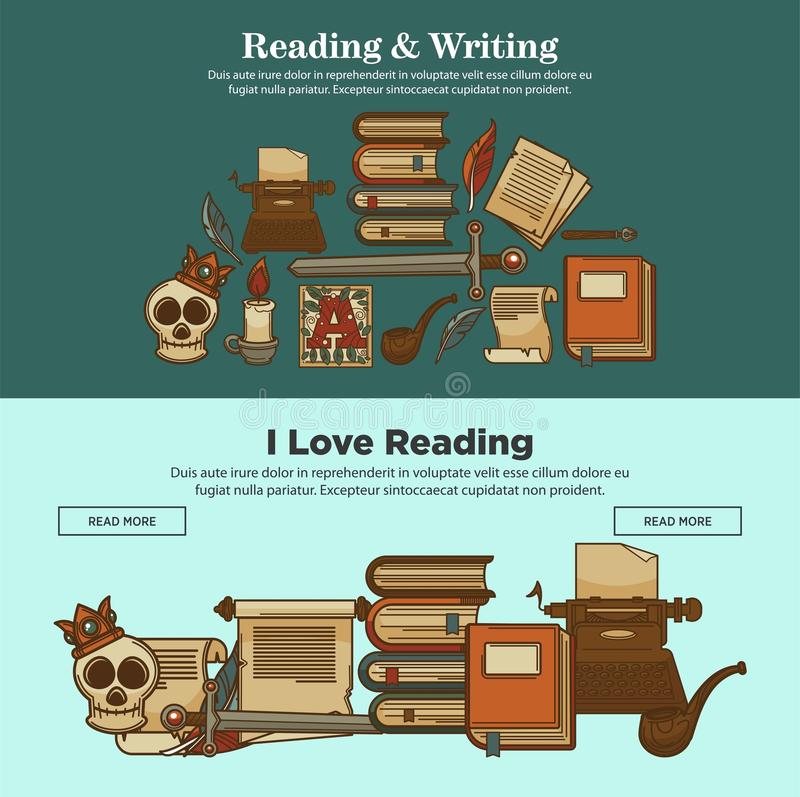Affischer för litteratur för tappning för arkivläsning- och handstilböcker av roman- eller för poesibok och skrivmaskinssymboler royaltyfri illustrationer