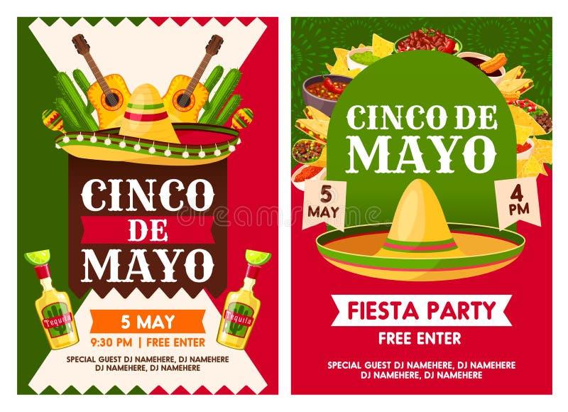 Affischer för vektor för parti för mexikanCinco de Mayo ferie vektor illustrationer
