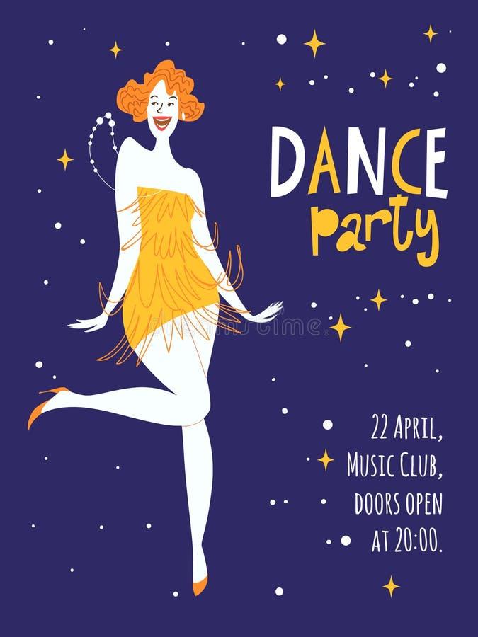 Affischer för vektordansparti Med den gulliga dansflickan vektor illustrationer