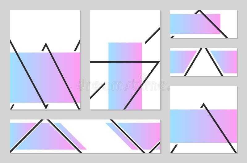 Affischer med abstrakta former, geometrisk ` s, memphis för stil 80 arkivbilder