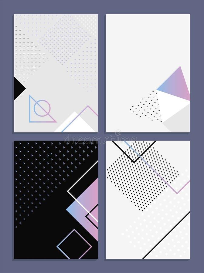 Affischer med abstrakta former, geometrisk ` s, memphis för stil 80 Retro-konst för räkningar, baner, reklamblad och affischer royaltyfri bild