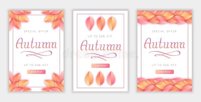 Affischer ställde in med handen dragen höstbokstäver för säsongsbetonad försäljning och andra befordrings- avsikter stock illustrationer