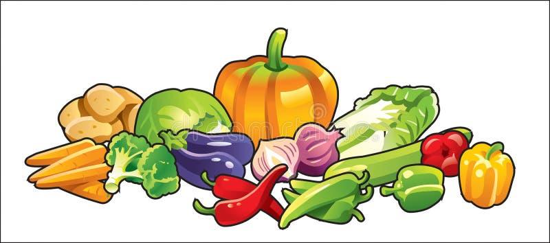 affischgrönsak stock illustrationer