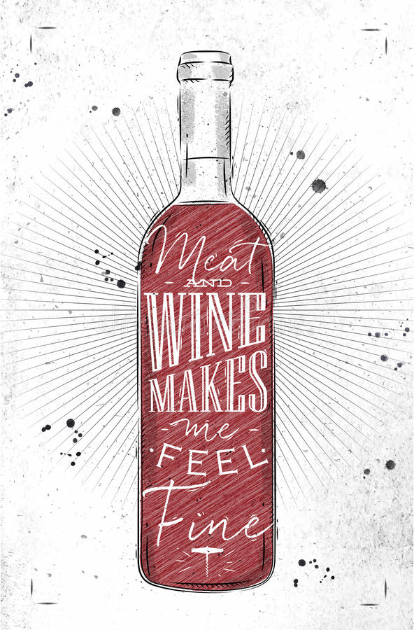 Affischkött och vin vektor illustrationer