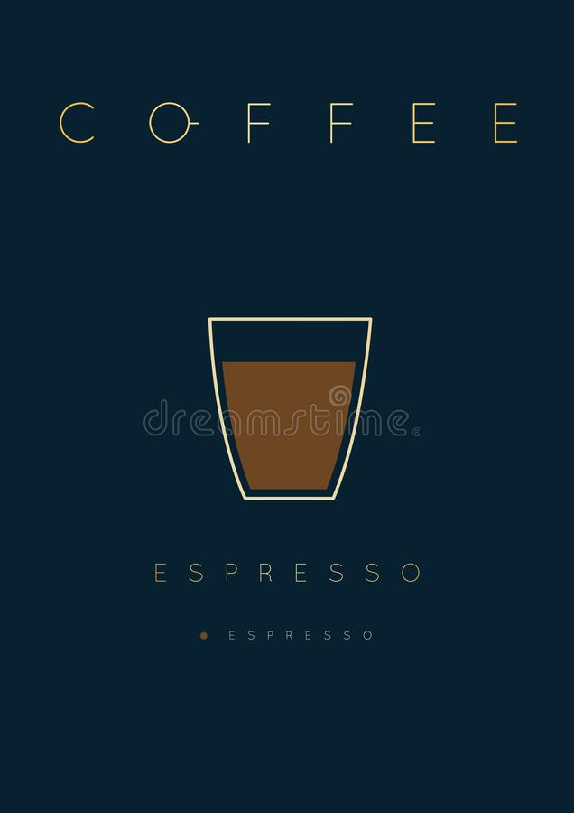 Affischkaffeespresso royaltyfri illustrationer