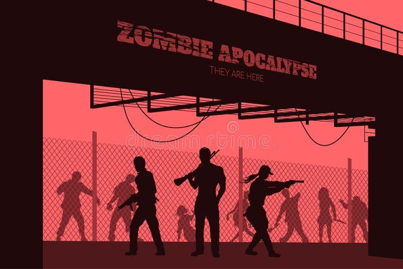 Affischlevande dödapokalyps Konturer av gunmans och dött folk på brobakgrund Videospel: skytt royaltyfri illustrationer