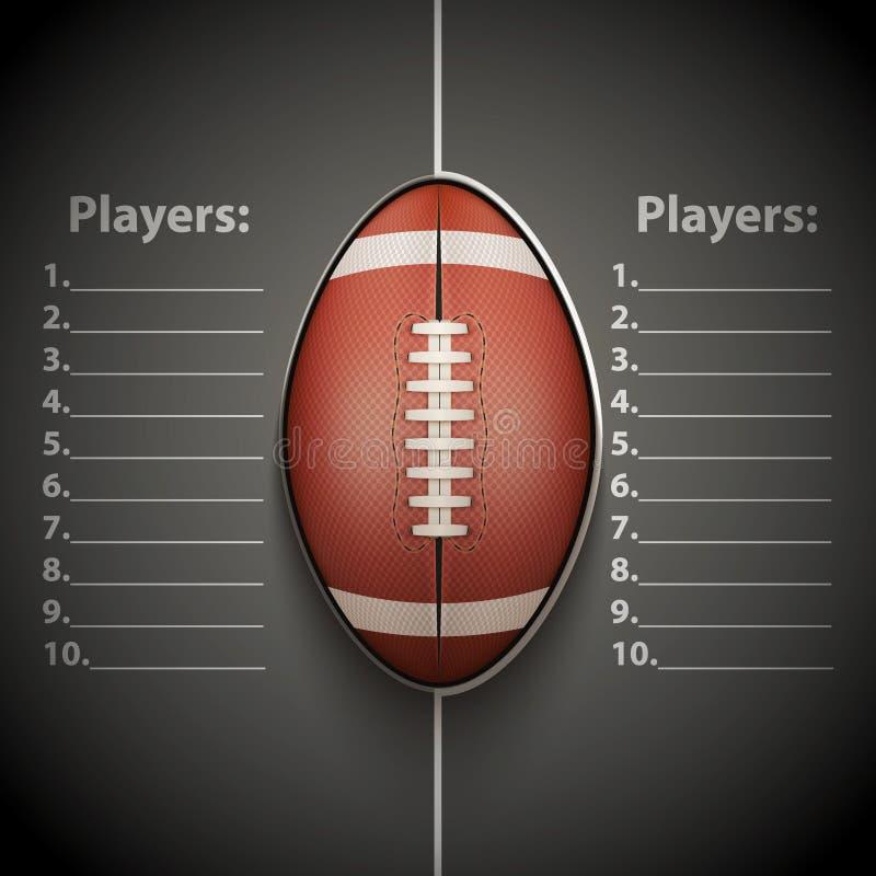 Affischmall av bollen för amerikansk fotboll stock illustrationer