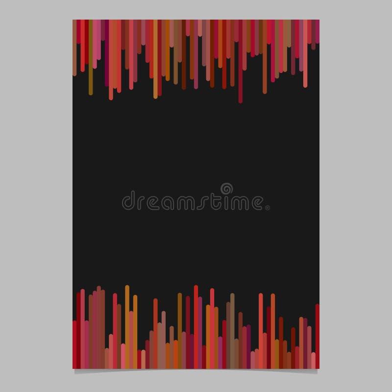 Affischmallen från vertikala linjer i brunt tonar - grafisk design för vektorbroschyr med svart bakgrund vektor illustrationer