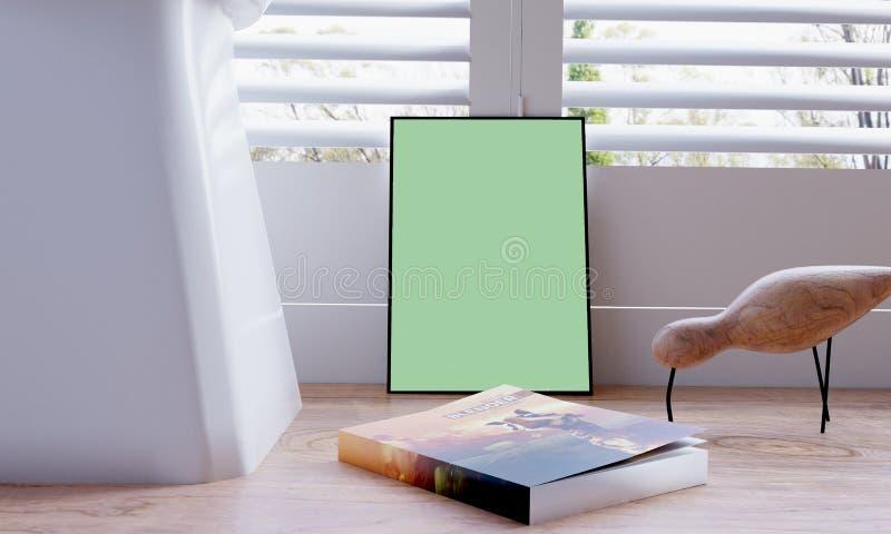Affischmodell med en bok och en fågel royaltyfri illustrationer