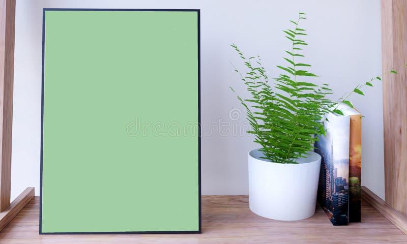 Affischmodell med växten och böcker stock illustrationer