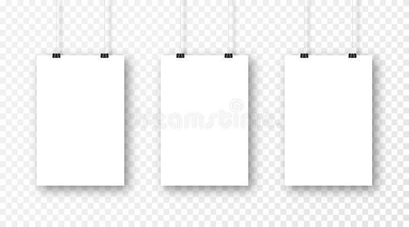 Affischmodell som isoleras på genomskinlig bakgrund Realistisk tom affischmall Ställ in av vertikala rammodeller vektor illustrationer