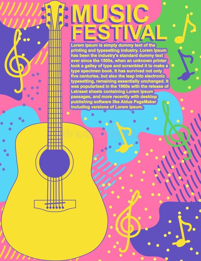 Affischmusikfestivalen vaggar för vektorillustration för gitarr plan design för färgrikt för musik för affisch modernt för reklam vektor illustrationer