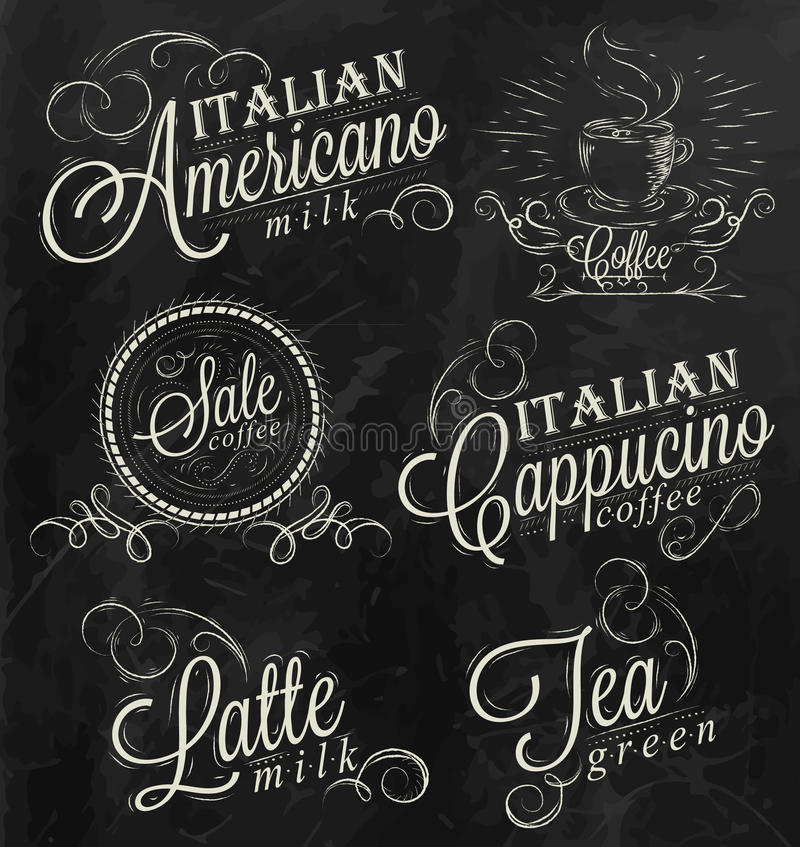Affischnamn av kaffedrinkar. Krita. vektor illustrationer