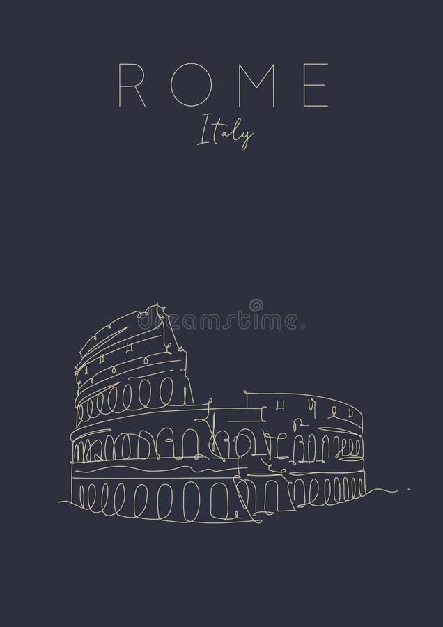 AffischRome Colosseum mörker royaltyfri illustrationer