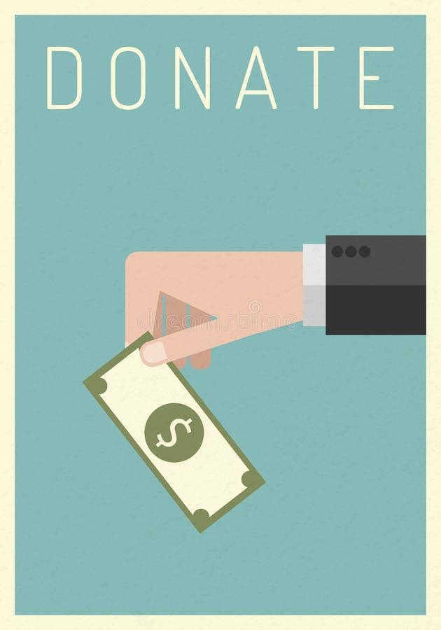 affischstätta Välgörenhet donationbegrepp Donera pengar med askaffären, finans Illustration för vektor EPS10 Plan styl stock illustrationer
