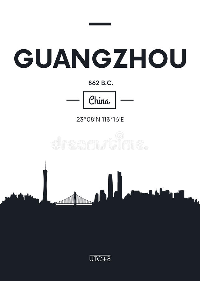 Affischstadshorisont Guangzhou, illustration för lägenhetstilvektor stock illustrationer
